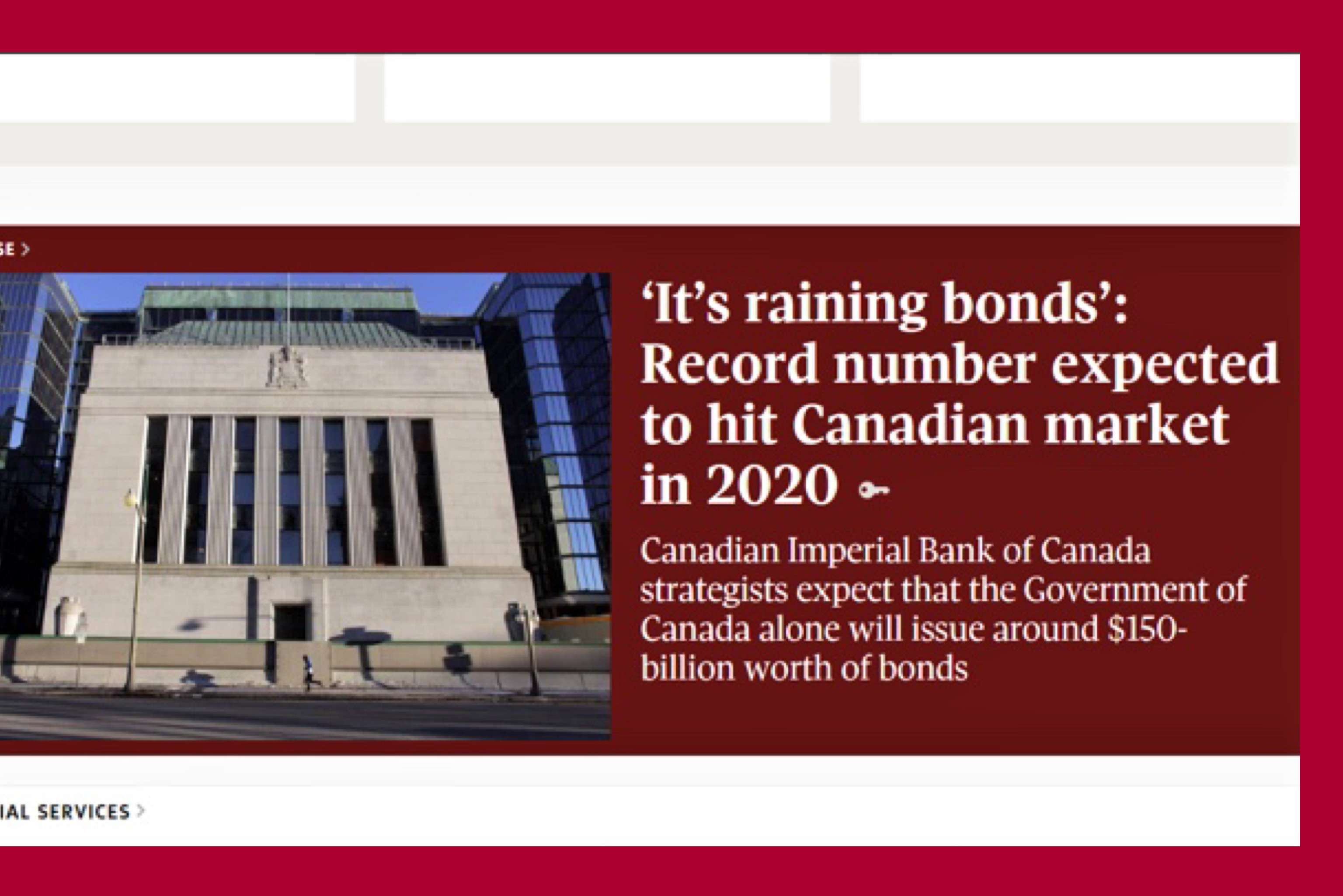 'It's raining bonds': Record no. expected to hit Canadian market in 2020
