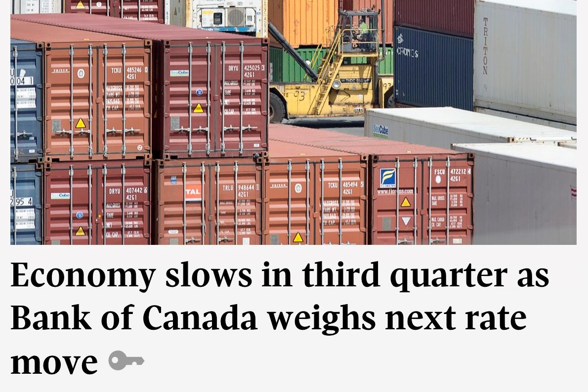 Economy slows in third quarter as Bank of Canada weighs next rate move