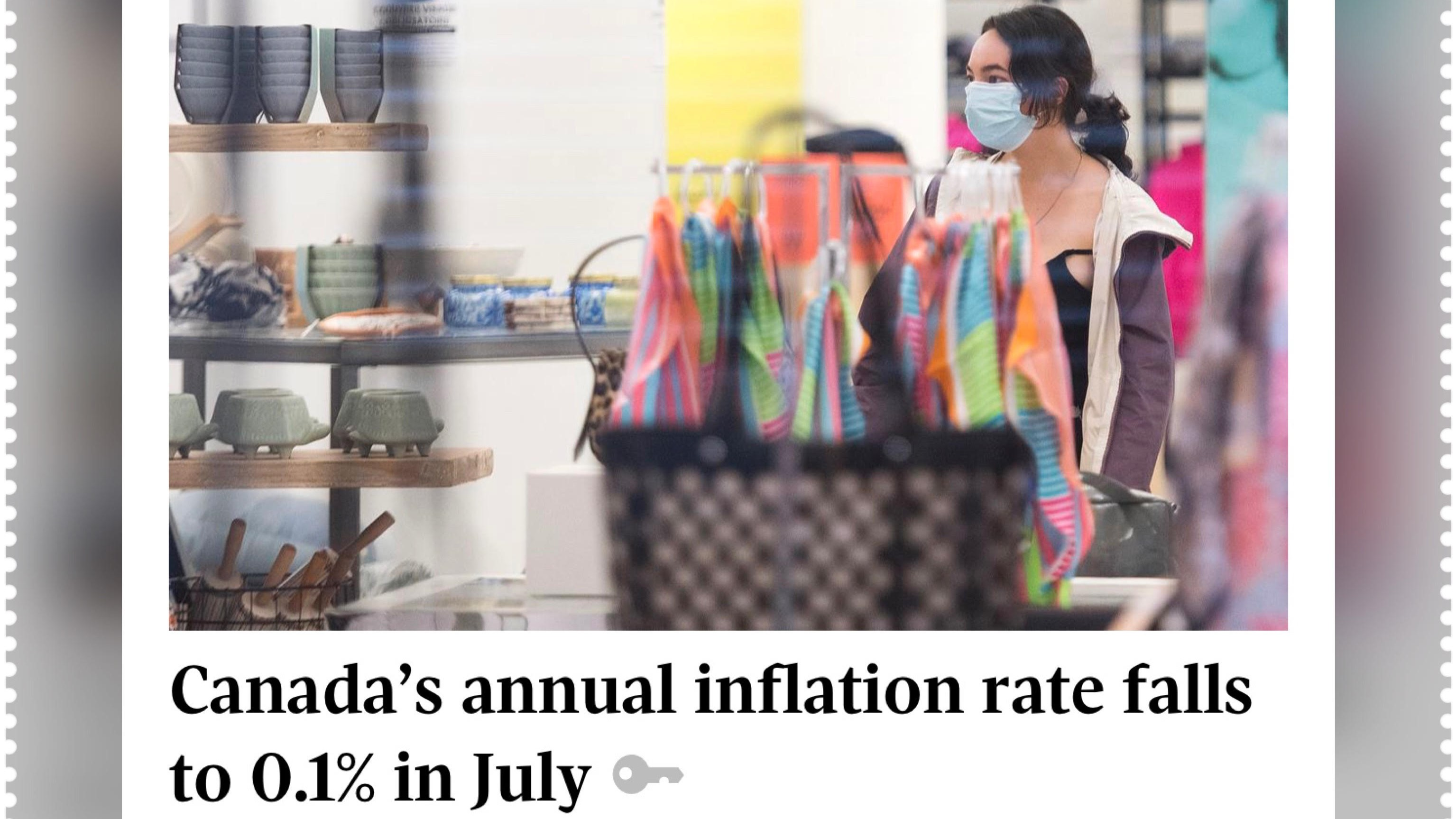 Canada's annual inflation rate falls to 0.1% in July